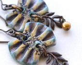 Fan Earrings, Polymer Clay, Green and Yellow Earrings, Clay, Pearl and Brass Earrings