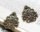 4pcs Antique Bronze plated Brass Filigree Jewelry Stampings Connectors  Finding (FILIG-B-61)