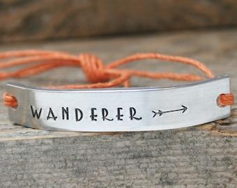 Custom Stamped Jewelry WANDERER Bracelet ONE Hand Stamped Jewelry Name Tie On Hemp Cord Personalized Friendship Style Adventure Travel Gypsy