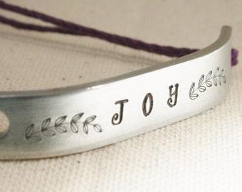 JOY Inspirational Bracelet ONE Custom Hand Stamped Jewelry Name Tie On Hemp Cord Personalized Friendship Positive Affirmation