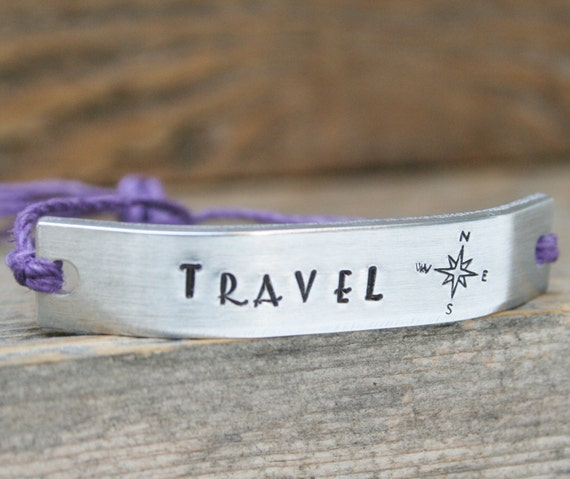 TRAVEL Bracelet One Custom Hand Stamped Jewelry Name Tie On Hemp Cord Personalized Friendship Style Adventure Gypsy YOLO See The World