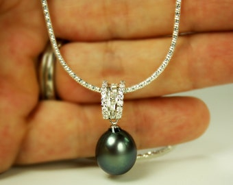 Large Freshwater Pearl Italian Silver Chain and CZ Pendant Necklace Blue Gray Lustrous