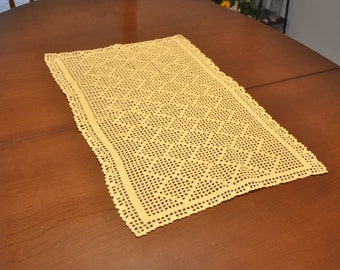 Vintage Yellow 2ft Hand Crocheted Altar Cloth Table Runner