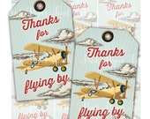 Vintage Retro Airplane - Biplane, Thank You Favor Tags, Instant Download, Print Your Own