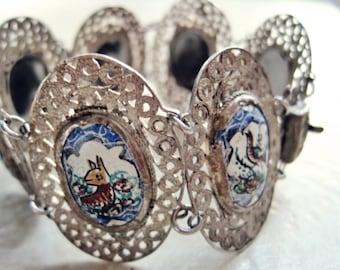 Vintage Enamel Bracelet - Silver and Enamel - Filigree - Hand Painted - Enamel Jewelry