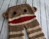 Sock Monkey Baby Pants - Baby Monkey Pants - Sock Monkey Pants with Ears - Crochet Baby Costume Pants - by JoJo's Bootique