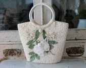Vintage Raffia Millinery Handbag with Roses and Lily of the Valley