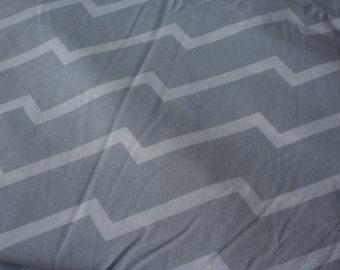 "Small Piece of Vintage Gray & White Chevron Fabric 29x50"""