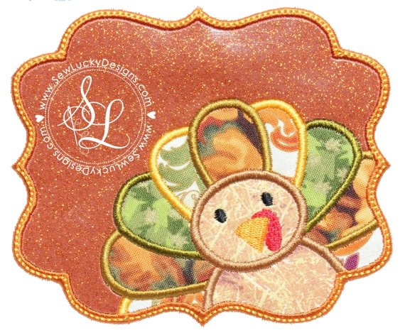 Turkey applique design thanksgiving fall