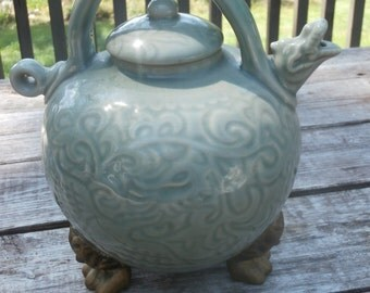 Lion Head Footed Dragon Tea Pot Exceptional Size by WCL