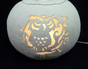 Ceramic Evil Owl Carved Pumpkin Bisque (unfinished)