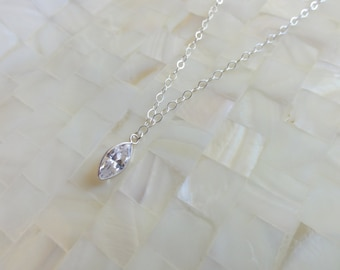 Faceted CZ Silver Bezel Marquis Pendant on a Sterling Silver Chain Necklace (N1663)