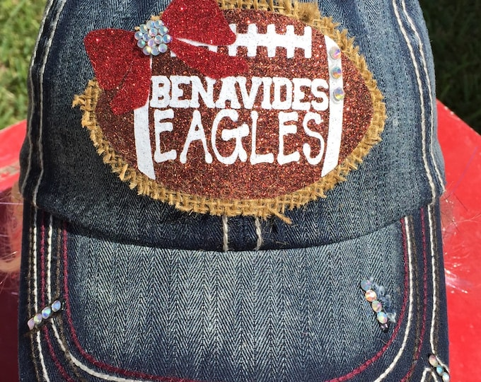 Burlap Glitter Football Patch Rhinestone Bling Womens Baseball Cap, Cadet Trucker, Personalized Custom Team Colors, High School Football