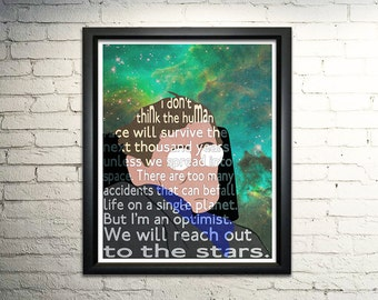 Stephen Hawking word art print - 8x10""