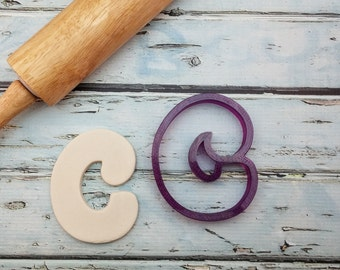 Curvy Letter C Cookie Cutter and Fondant Cutter and Clay Cutter