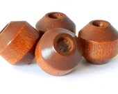 Chunky Barrel Vintage Wood Beads - light brown maple - 4 pieces