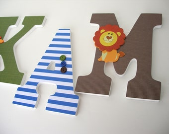 Baby Name Letter Set - Blue, Brown, and Green - Custom Nursery Wooden Wall Letters
