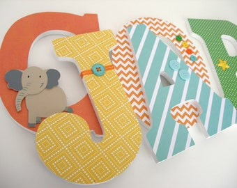 Wood Letters for Bedroom - Green, Yellow, Orange, and Teal Turquoise - Nursery Name Décor