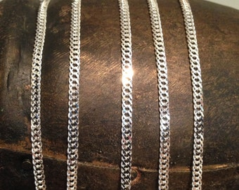 Sterling Silver FLAT Chain - 18 Inches  Double Link Sterling Silver Cable Chain - Beautiful Shimmers and Shines  3.3mm CH20-18in
