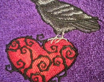 Raven Heart Purple Bathroom Hand Towel