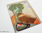Persian painting / persian miniature Young man hudding under a tree PRINT