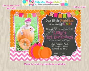 Pumpkin Birthday Invitation/invite/1st Birthday/girl/Pumpkin/Patch/invitation/invite/photo/picture/chalkboard/chevron/printable/DIY/Custom