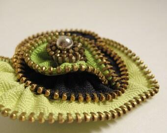 Green Heart Zipper Brooch Pin