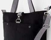 LARGE. Black canvas Tote / Shoulder Bag / school bag / Diaper bag, with detachable strap. Design by BagyBags