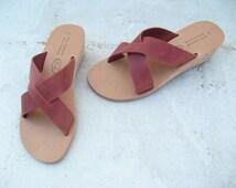 SALE! Size 7-7.5/38 Greek leather pumps, strap leather sandals women's sandals genuine leather sandals,yellow slides, yelow leather slides