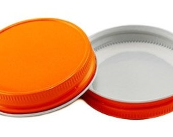 SOLID Mason Jar Lids, Orange Mason Jar Lids No Holes Wedding, Baby Shower Mason Jar Favors Mason Jars, Party Favors Party Supplies, Jar Lids