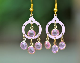 Vintage Earrings, Rhinestones, Chandelier, Pink, Glass, Enamel, Gold, Shabby Chic, Jennifer Jones, Upcycled, Pierced, OOAK - Pink Champagne
