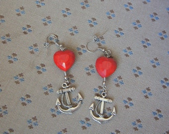 Olivia Paige - Pin up rockabilly Anchor Hearts earrings