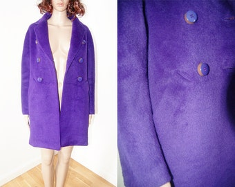 vintage 1990s Purple violet mohair wool simple cut winter jacket size S/M