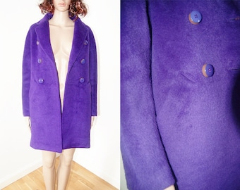 vintage 1990s Purple violet mohair wool simple cut winter jacket size S/M
