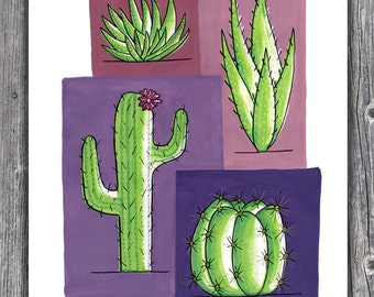 Colorful Cactus - 11 x 14 print (Purples & Greens)