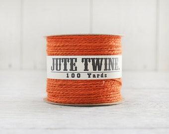 Jute Twine - 100 Yard Spool of Twine, 2-Ply Rustic Craft String, Pumpkin Orange
