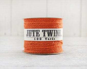 Jute Twine - 100 Yard Spool of Twine, 2-Ply Rustic Craft String, Pumpkin Orange