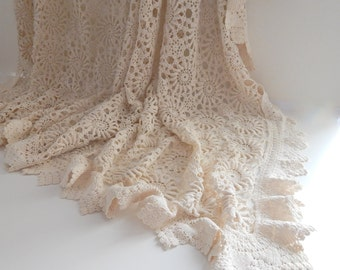 French Vintage Hand Crocheted Bed Coverlet Lacy with Sunflower Pattern