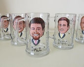 Eight Hand Painted Groomsman Wedding  Beer Glass  Cartoon Portrait  Likeness Bride Bridesmaid Wine Beer Personalized