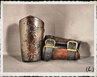 Brown leather bracelets - Circonvolution -