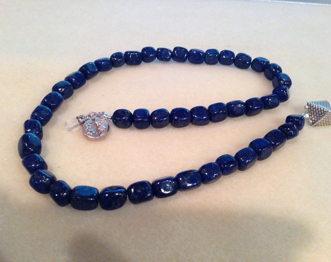Lapis Prayer Beads Rosary - 45 Bead Rectangular 10mm Lapis Beads with Antique Sterling Silver Moon & Pyramid Charms