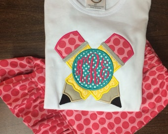 Handmade Personalized Back to School Outfit Pencil Applique Shirt and Polka dot  Ruffle Shorts FAST SHIPPING