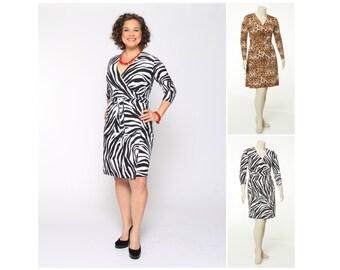 Classic Wrap Dress Animal Print 4 Lengths Misses & Plus Sizes 2-28