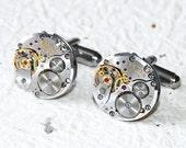 ZENITH Men Steampunk Cufflinks - HIGH END Luxury Swiss Silver Vintage Watch Movement Men Steampunk Cufflinks Cuff Links Valentines Day Gift