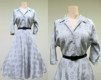 Vintage 1950s Dress / 50s Silver Rayon Taffeta Dress / Small