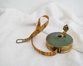 Vintage Wind Up Cloth Tape Measure - Sewing Ephemera - Cloth Measuring Tape