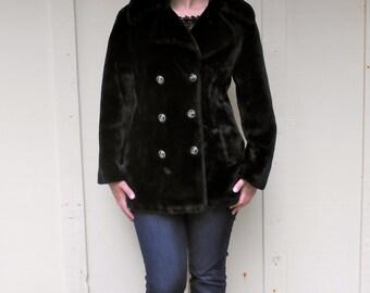 Vintage 1960s BORGAZIA black faux fur double-breasted pea coat, size medium