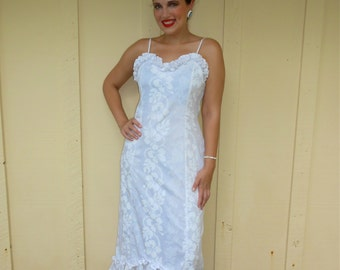 Vintage 1980s KY'S HAWAII white on white floral / tropical ruffled maxi dress / wedding dress / gown