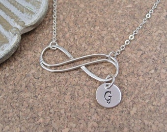 Double Infinity Initial Necklace | Double Infinity Initial Necklace | Hand Stamped Initial Necklace | Gift for Mother, Daughter