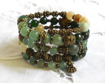 bohemian memory wire bracelet stone cuff bracelet green bronze memory wire bracelet boho green  bracelet
